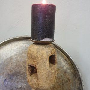 Kandelaar hout op zwarte ijzeren poot - nr 3