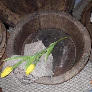 Originele ronde olijfbak op pootjes - ø 42 cm.