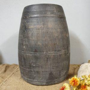 Sobere houten pot/vaas - grijs