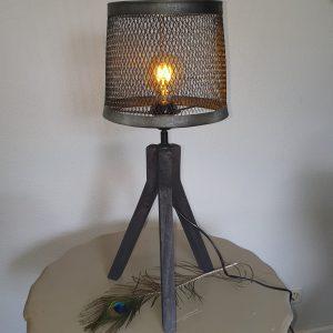 Stoere tafellamp - antraciet/zwart