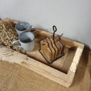 Oud dienblad met handgrepen